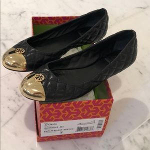 Tory Burch Black/Gold Ballet Shoe